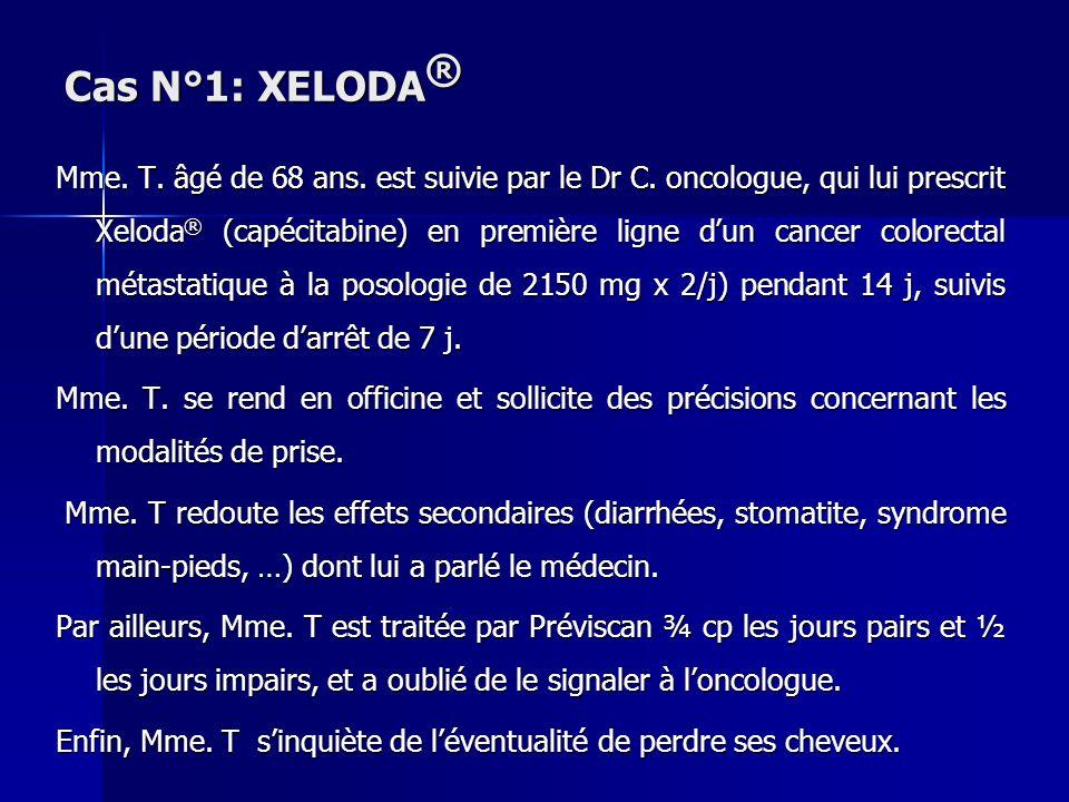 Cas N°1: XELODA ® Mme. T. âgé de 68 ans. est suivie par le Dr C. oncologue, qui lui prescrit Xeloda ® (capécitabine) en première ligne dun cancer colo