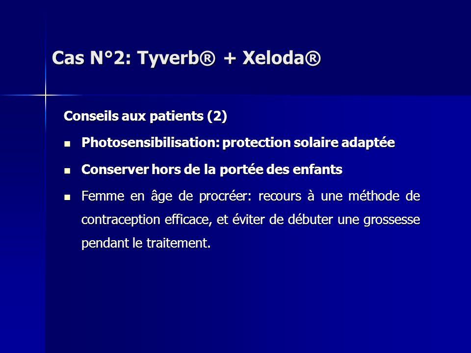 Conseils aux patients (2) Photosensibilisation: protection solaire adaptée Photosensibilisation: protection solaire adaptée Conserver hors de la porté