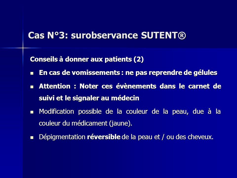 Conseils à donner aux patients (2) En cas de vomissements : ne pas reprendre de gélules En cas de vomissements : ne pas reprendre de gélules Attention