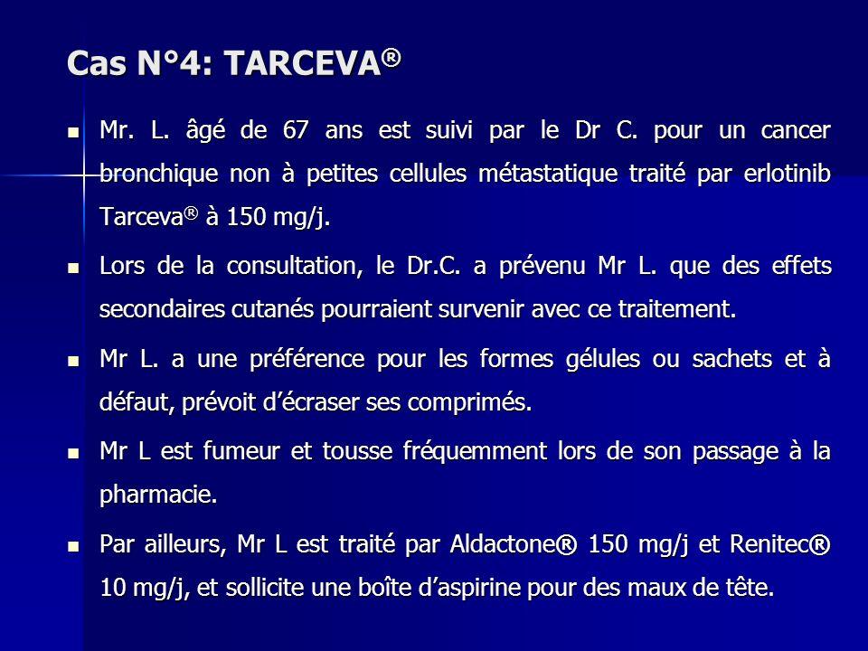 Cas N°4: TARCEVA ® Mr. L. âgé de 67 ans est suivi par le Dr C. pour un cancer bronchique non à petites cellules métastatique traité par erlotinib Tarc