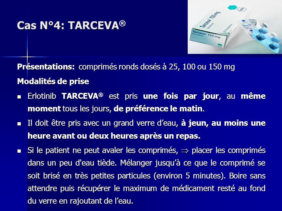 Présentations: comprimés ronds dosés à 25, 100 ou 150 mg Modalités de prise Erlotinib TARCEVA est pris une fois par jour, au même moment tous les jour