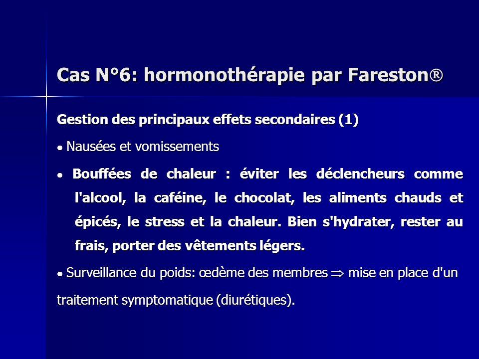 Gestion des principaux effets secondaires (1) Nausées et vomissements Nausées et vomissements Bouffées de chaleur : éviter les déclencheurs comme l'al