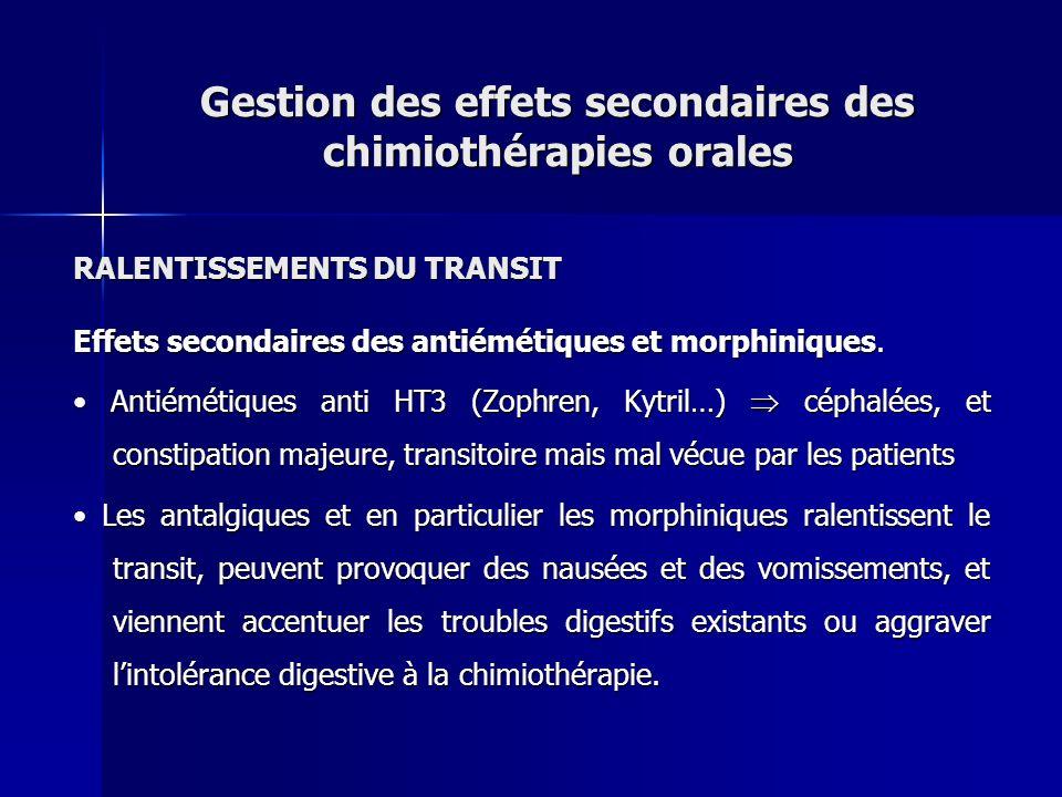 RALENTISSEMENTS DU TRANSIT Effets secondaires des antiémétiques et morphiniques. Antiémétiques anti HT3 (Zophren, Kytril…) céphalées, et constipation