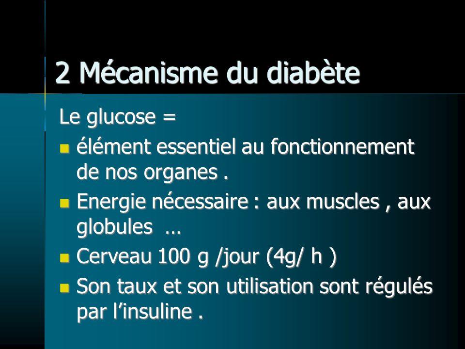 2 Mécanisme du diabète Le glucose = élément essentiel au fonctionnement de nos organes. élément essentiel au fonctionnement de nos organes. Energie né
