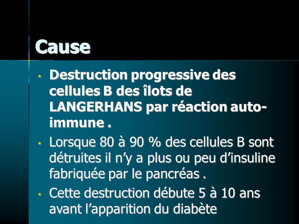 Cause Destruction progressive des cellules B des îlots de LANGERHANS par réaction auto- immune. Destruction progressive des cellules B des îlots de LA