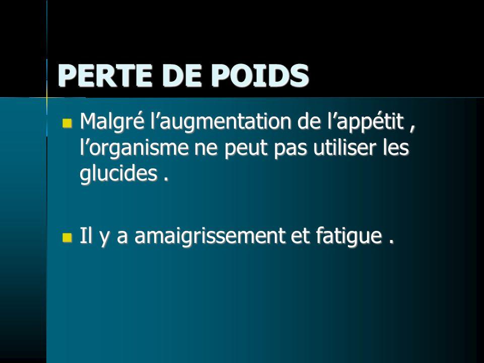 PERTE DE POIDS Malgré laugmentation de lappétit, lorganisme ne peut pas utiliser les glucides. Malgré laugmentation de lappétit, lorganisme ne peut pa