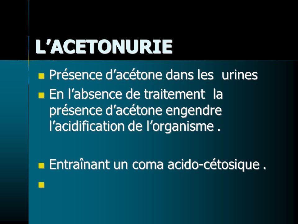 LACETONURIE Présence dacétone dans les urines Présence dacétone dans les urines En labsence de traitement la présence dacétone engendre lacidification de lorganisme.
