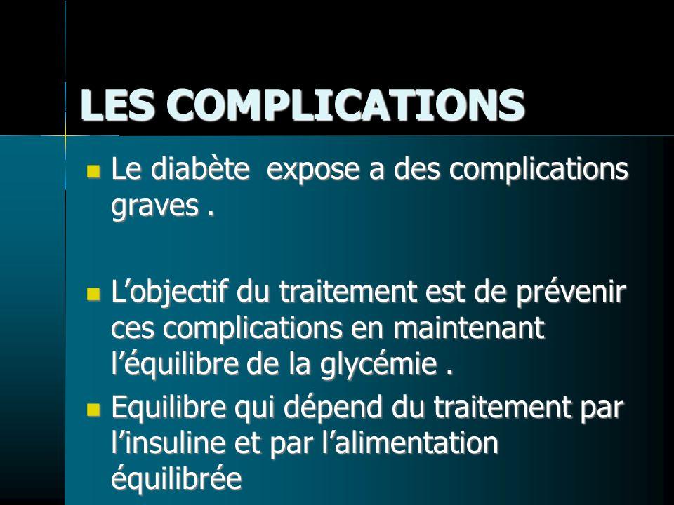 LES COMPLICATIONS Le diabète expose a des complications graves. Le diabète expose a des complications graves. Lobjectif du traitement est de prévenir