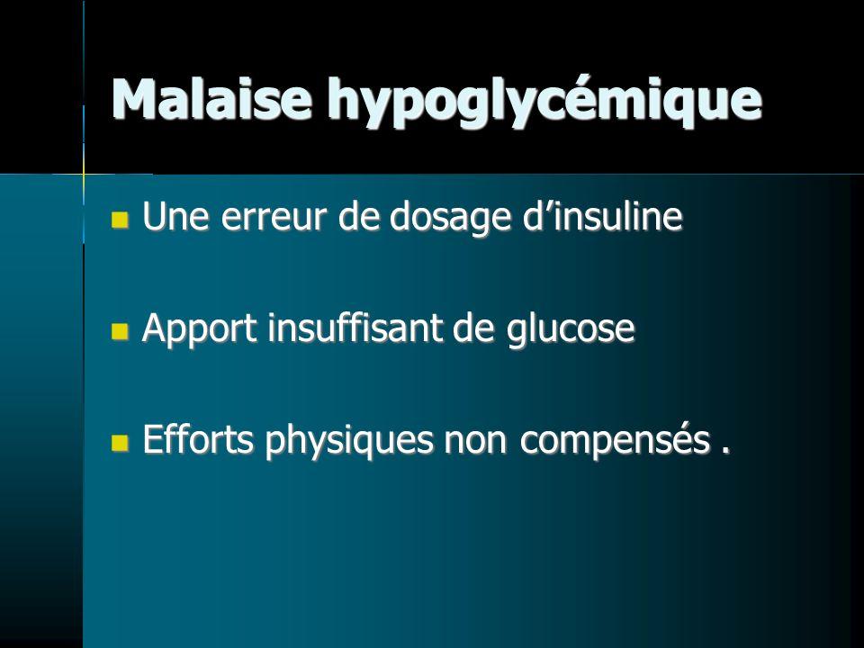 Malaise hypoglycémique Une erreur de dosage dinsuline Une erreur de dosage dinsuline Apport insuffisant de glucose Apport insuffisant de glucose Efforts physiques non compensés.