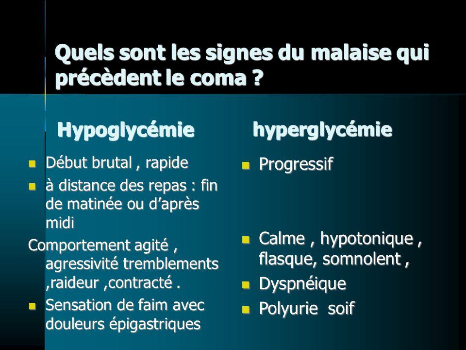 Quels sont les signes du malaise qui précèdent le coma ? Hypoglycémie hyperglycémie Début brutal, rapide Début brutal, rapide à distance des repas : f