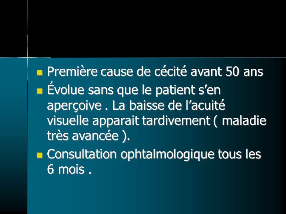 Première cause de cécité avant 50 ans Première cause de cécité avant 50 ans Évolue sans que le patient sen aperçoive.