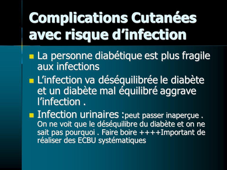 Complications Cutanées avec risque dinfection La personne diabétique est plus fragile aux infections La personne diabétique est plus fragile aux infec