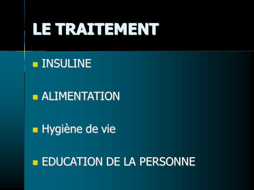 LE TRAITEMENT INSULINE INSULINE ALIMENTATION ALIMENTATION Hygiène de vie Hygiène de vie EDUCATION DE LA PERSONNE EDUCATION DE LA PERSONNE