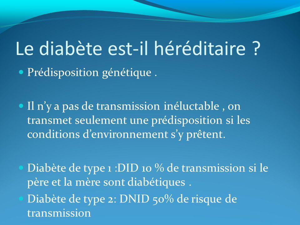 Le diabète est-il héréditaire ? Prédisposition génétique. Il ny a pas de transmission inéluctable, on transmet seulement une prédisposition si les con