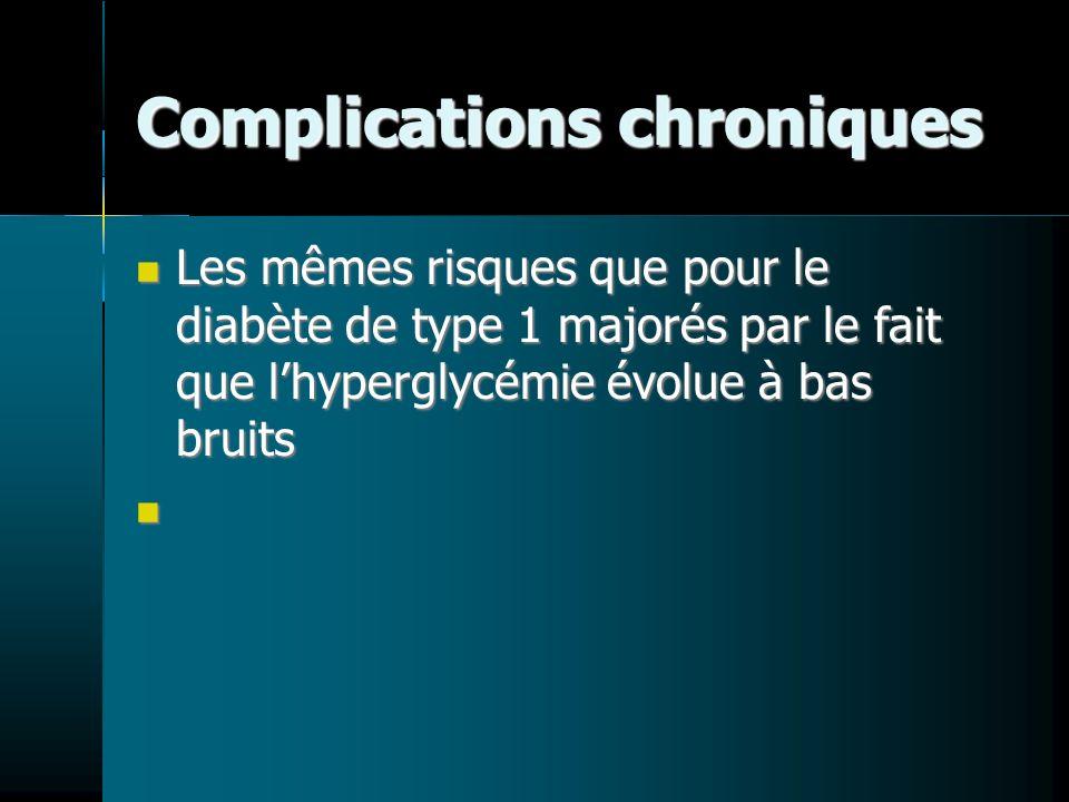 Complications chroniques Les mêmes risques que pour le diabète de type 1 majorés par le fait que lhyperglycémie évolue à bas bruits Les mêmes risques