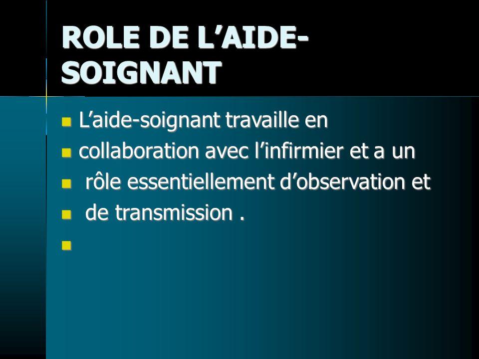 ROLE DE LAIDE- SOIGNANT Laide-soignant travaille en Laide-soignant travaille en collaboration avec linfirmier et a un collaboration avec linfirmier et a un rôle essentiellement dobservation et rôle essentiellement dobservation et de transmission.