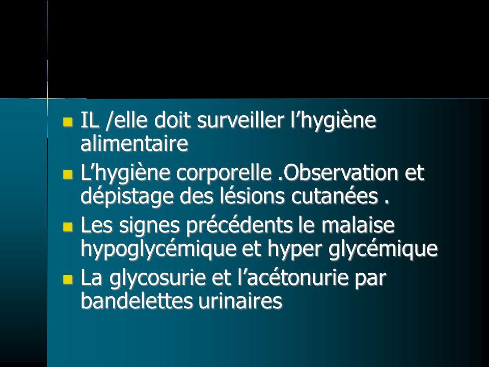IL /elle doit surveiller lhygiène alimentaire IL /elle doit surveiller lhygiène alimentaire Lhygiène corporelle.Observation et dépistage des lésions cutanées.
