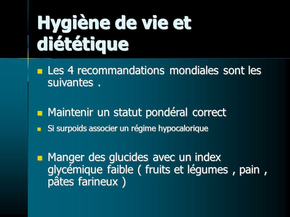 Hygiène de vie et diététique Les 4 recommandations mondiales sont les suivantes. Les 4 recommandations mondiales sont les suivantes. Maintenir un stat
