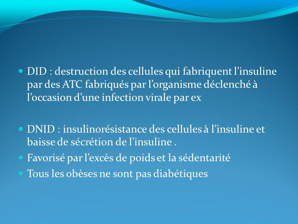 DID : destruction des cellules qui fabriquent linsuline par des ATC fabriqués par lorganisme déclenché à loccasion dune infection virale par ex DNID : insulinorésistance des cellules à linsuline et baisse de sécrétion de linsuline.