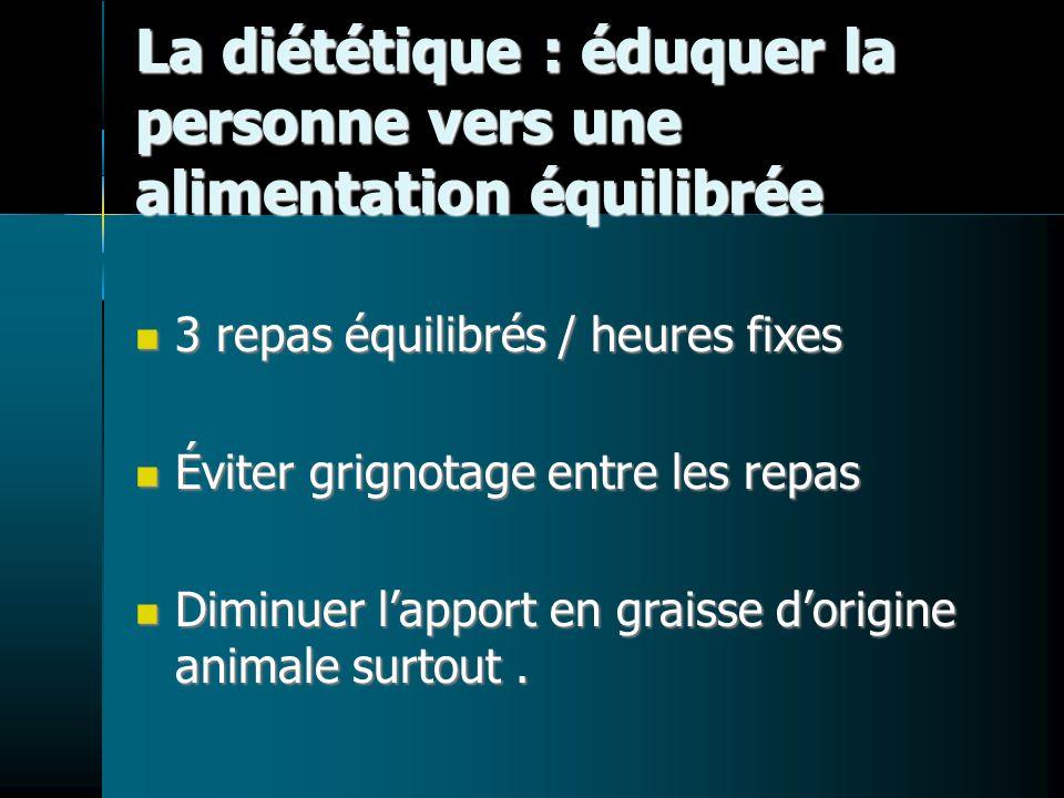 La diététique : éduquer la personne vers une alimentation équilibrée 3 repas équilibrés / heures fixes 3 repas équilibrés / heures fixes Éviter grigno
