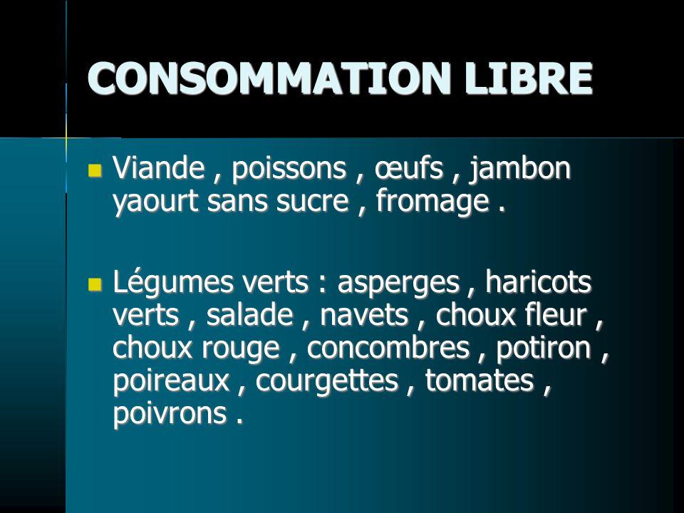 CONSOMMATION LIBRE Viande, poissons, œufs, jambon yaourt sans sucre, fromage. Viande, poissons, œufs, jambon yaourt sans sucre, fromage. Légumes verts