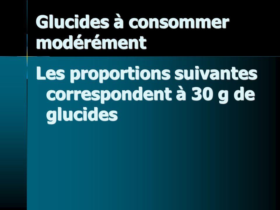 Glucides à consommer modérément Les proportions suivantes correspondent à 30 g de glucides