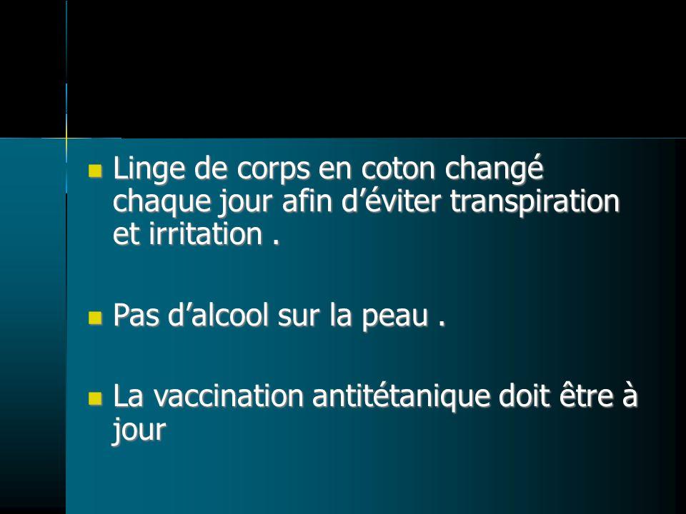 Linge de corps en coton changé chaque jour afin déviter transpiration et irritation.