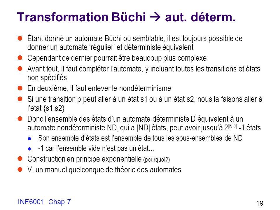 INF6001 Chap 7 19 Transformation Büchi aut. déterm. Étant donné un automate Büchi ou semblable, il est toujours possible de donner un automate régulie