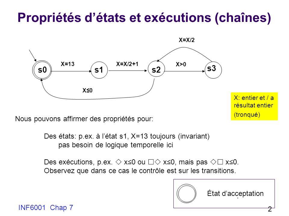 INF6001 Chap 7 2 Propriétés détats et exécutions (chaînes) X=13X=X/2+1 X>0 X=X/2 X0X0 s0 Nous pouvons affirmer des propriétés pour: Des états: p.ex.