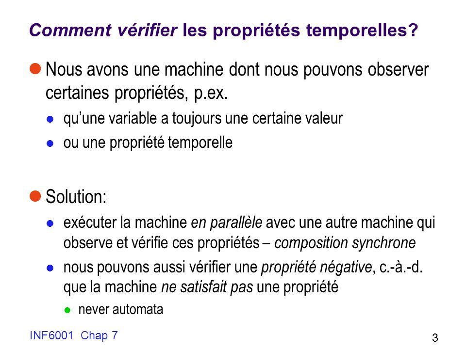 INF6001 Chap 7 3 Comment vérifier les propriétés temporelles? Nous avons une machine dont nous pouvons observer certaines propriétés, p.ex. quune vari