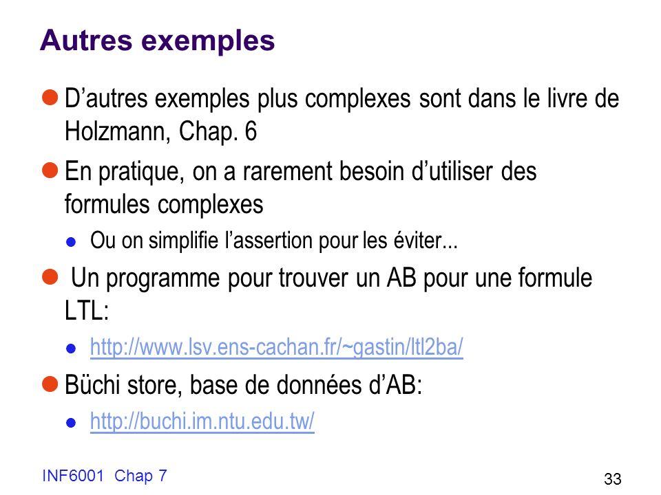 INF6001 Chap 7 33 Autres exemples Dautres exemples plus complexes sont dans le livre de Holzmann, Chap. 6 En pratique, on a rarement besoin dutiliser
