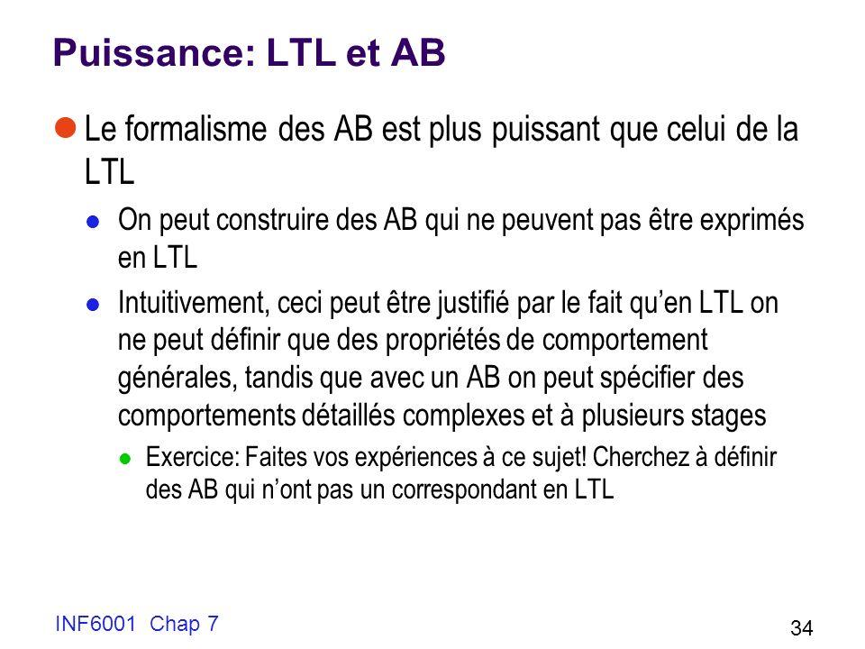 Puissance: LTL et AB Le formalisme des AB est plus puissant que celui de la LTL On peut construire des AB qui ne peuvent pas être exprimés en LTL Intuitivement, ceci peut être justifié par le fait quen LTL on ne peut définir que des propriétés de comportement générales, tandis que avec un AB on peut spécifier des comportements détaillés complexes et à plusieurs stages Exercice: Faites vos expériences à ce sujet.