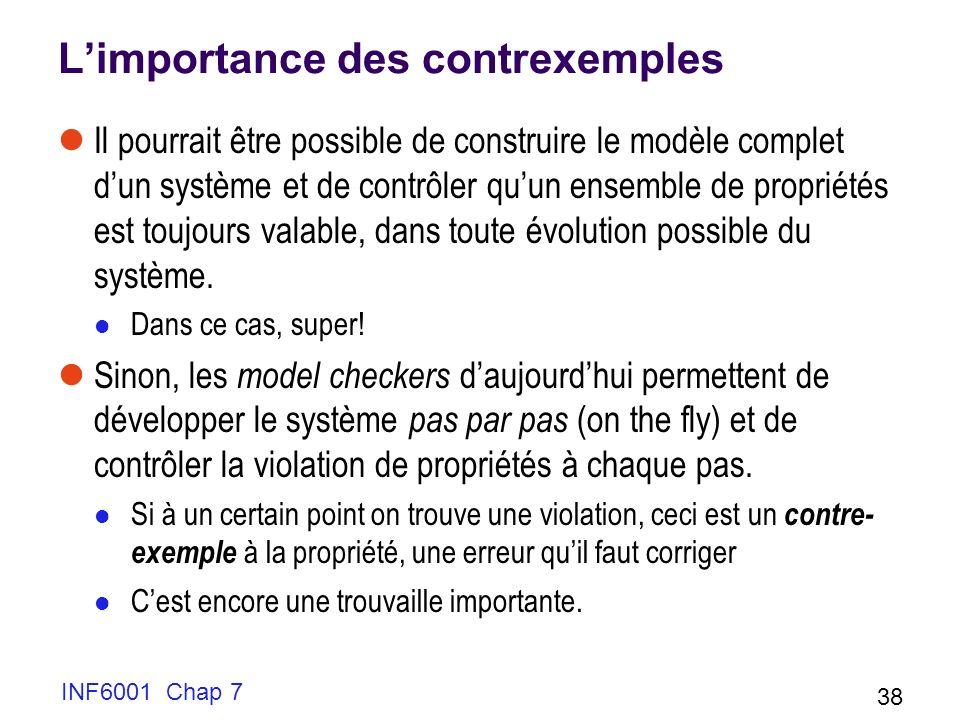 Limportance des contrexemples Il pourrait être possible de construire le modèle complet dun système et de contrôler quun ensemble de propriétés est toujours valable, dans toute évolution possible du système.