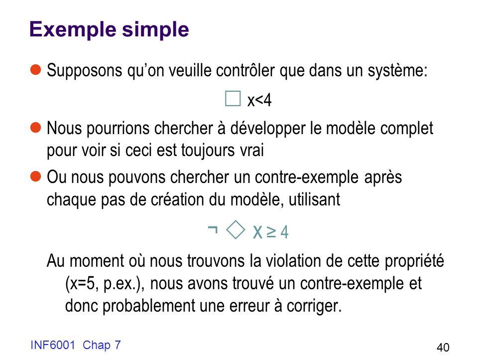 Exemple simple Supposons quon veuille contrôler que dans un système: x<4 Nous pourrions chercher à développer le modèle complet pour voir si ceci est