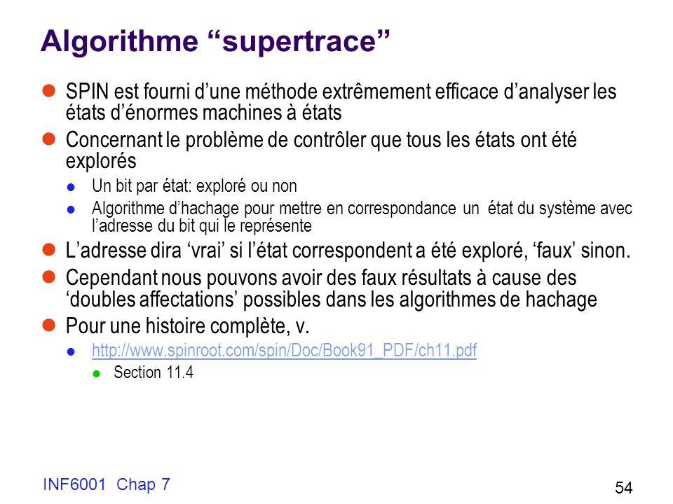 INF6001 Chap 7 54 Algorithme supertrace SPIN est fourni dune méthode extrêmement efficace danalyser les états dénormes machines à états Concernant le