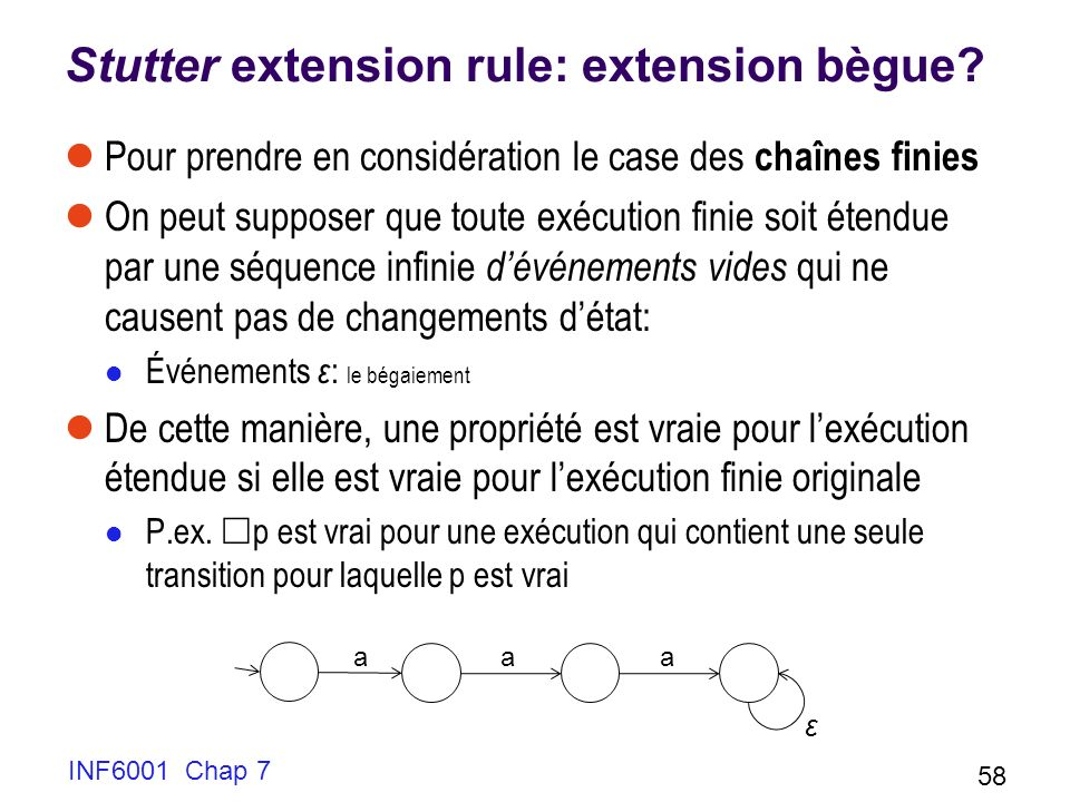 INF6001 Chap 7 58 Stutter extension rule: extension bègue? Pour prendre en considération le case des chaînes finies On peut supposer que toute exécuti