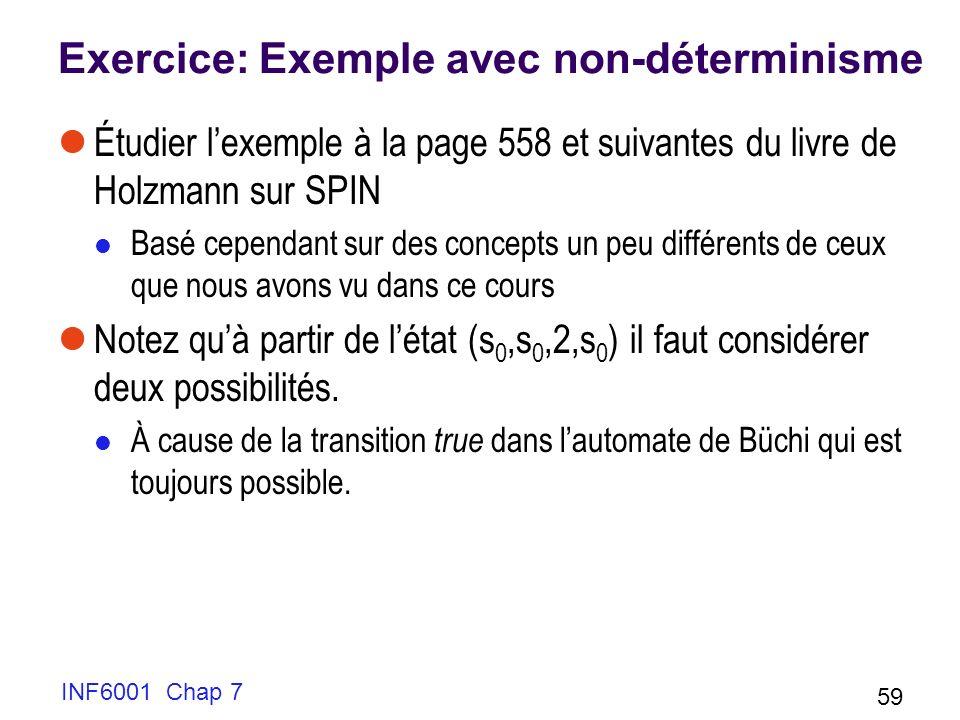 INF6001 Chap 7 59 Exercice: Exemple avec non-déterminisme Étudier lexemple à la page 558 et suivantes du livre de Holzmann sur SPIN Basé cependant sur des concepts un peu différents de ceux que nous avons vu dans ce cours Notez quà partir de létat (s 0,s 0,2,s 0 ) il faut considérer deux possibilités.