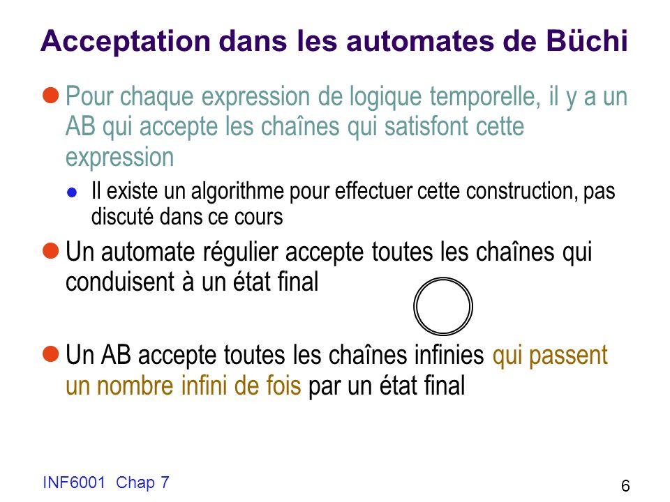 INF6001 Chap 7 6 Acceptation dans les automates de Büchi Pour chaque expression de logique temporelle, il y a un AB qui accepte les chaînes qui satisf