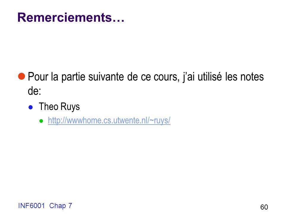 INF6001 Chap 7 60 Remerciements… Pour la partie suivante de ce cours, jai utilisé les notes de: Theo Ruys http://wwwhome.cs.utwente.nl/~ruys/