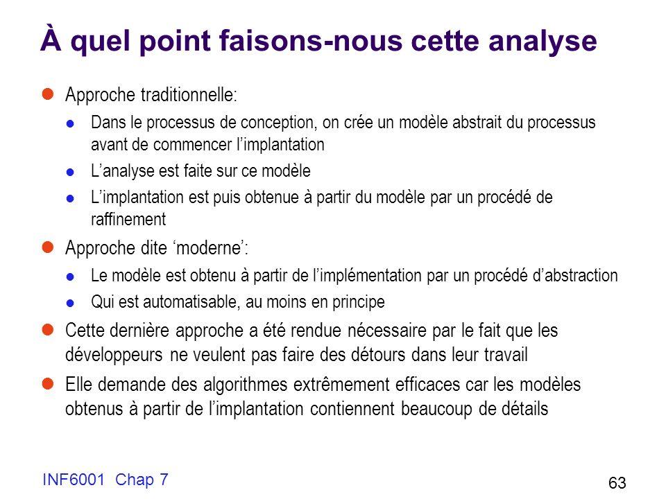 INF6001 Chap 7 63 À quel point faisons-nous cette analyse Approche traditionnelle: Dans le processus de conception, on crée un modèle abstrait du proc