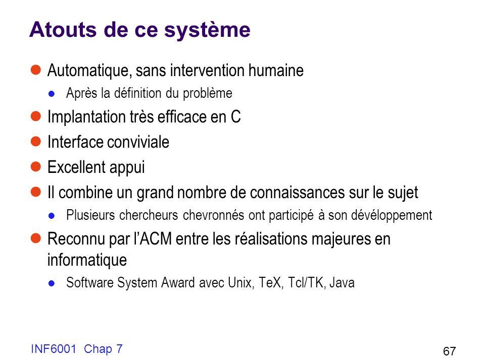 INF6001 Chap 7 67 Atouts de ce système Automatique, sans intervention humaine Après la définition du problème Implantation très efficace en C Interfac