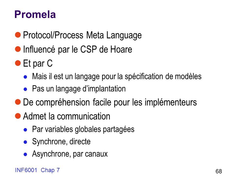 INF6001 Chap 7 68 Promela Protocol/Process Meta Language Influencé par le CSP de Hoare Et par C Mais il est un langage pour la spécification de modèles Pas un langage dimplantation De compréhension facile pour les implémenteurs Admet la communication Par variables globales partagées Synchrone, directe Asynchrone, par canaux
