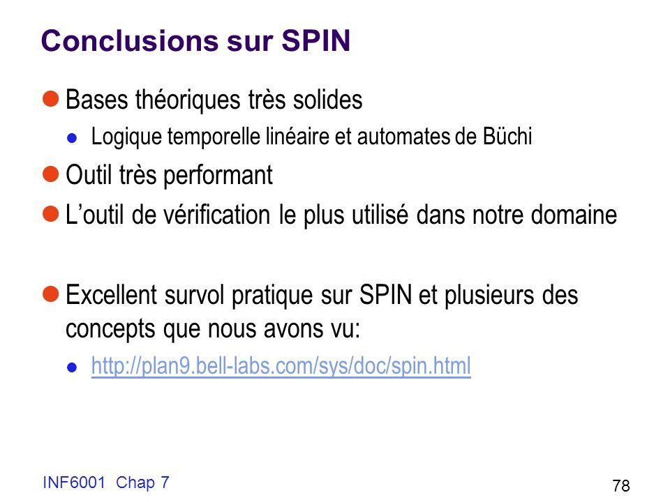INF6001 Chap 7 78 Conclusions sur SPIN Bases théoriques très solides Logique temporelle linéaire et automates de Büchi Outil très performant Loutil de vérification le plus utilisé dans notre domaine Excellent survol pratique sur SPIN et plusieurs des concepts que nous avons vu: http://plan9.bell-labs.com/sys/doc/spin.html