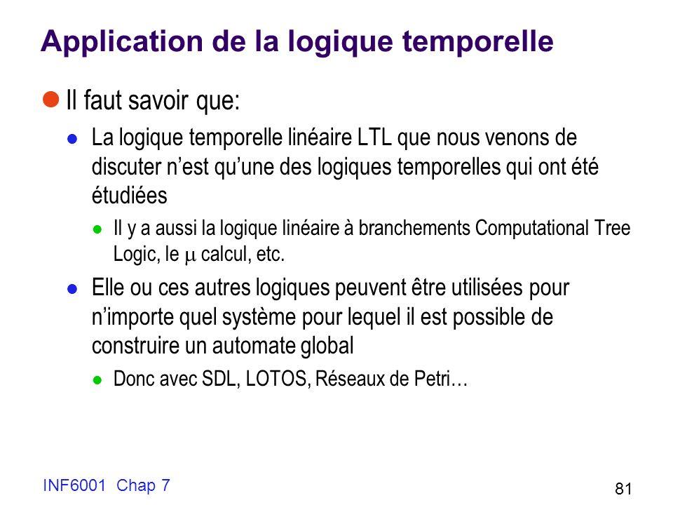 INF6001 Chap 7 81 Application de la logique temporelle Il faut savoir que: La logique temporelle linéaire LTL que nous venons de discuter nest quune des logiques temporelles qui ont été étudiées Il y a aussi la logique linéaire à branchements Computational Tree Logic, le calcul, etc.