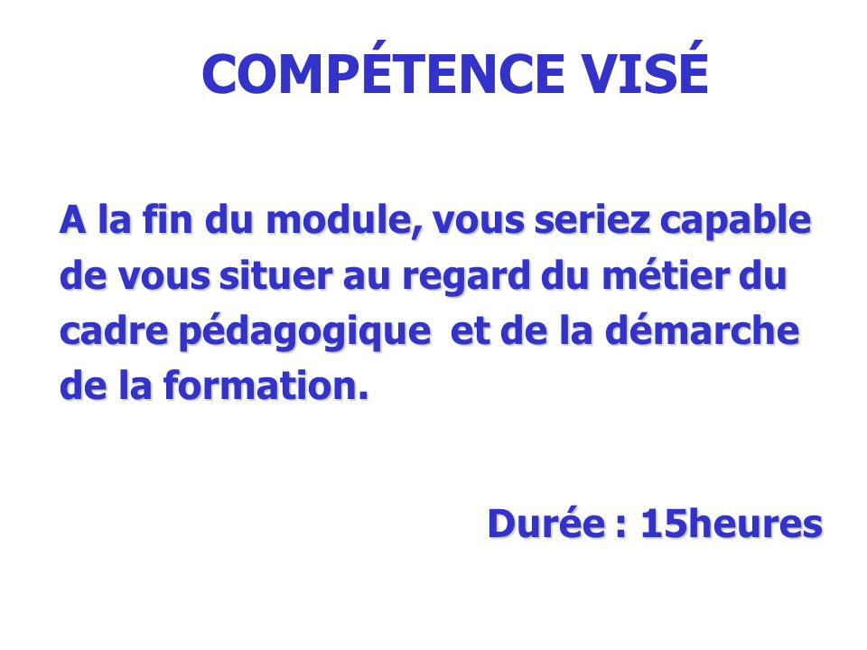 COMPÉTENCE VISÉ A la fin du module, vous seriez capable de vous situer au regard du métier du cadre pédagogique et de la démarche de la formation. Dur