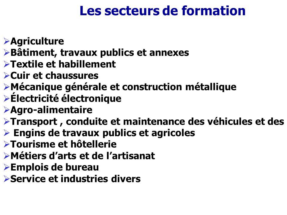 Les secteurs de formation Agriculture Bâtiment, travaux publics et annexes Textile et habillement Cuir et chaussures Mécanique générale et constructio