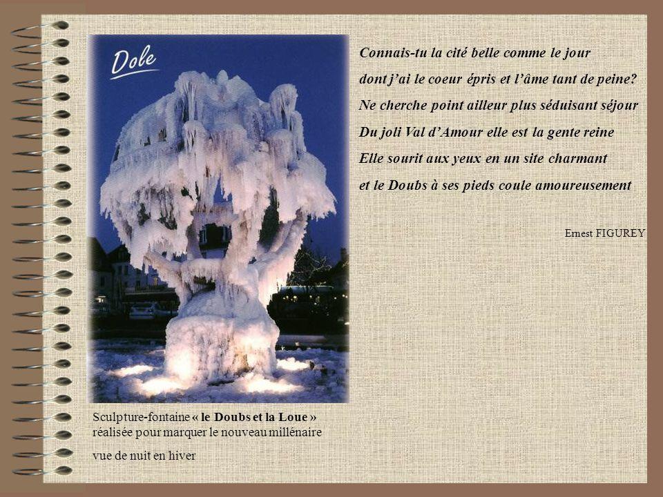 Sculpture-fontaine « le Doubs et la Loue » réalisée pour marquer le nouveau millénaire vue de nuit en hiver Connais-tu la cité belle comme le jour don