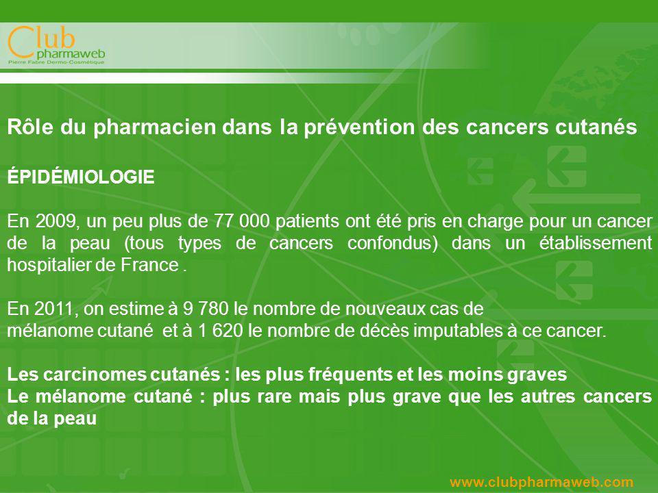 4 www.clubpharmaweb.com Rôle du pharmacien dans la prévention des cancers cutanés ÉPIDÉMIOLOGIE En 2009, un peu plus de 77 000 patients ont été pris en charge pour un cancer de la peau (tous types de cancers confondus) dans un établissement hospitalier de France.