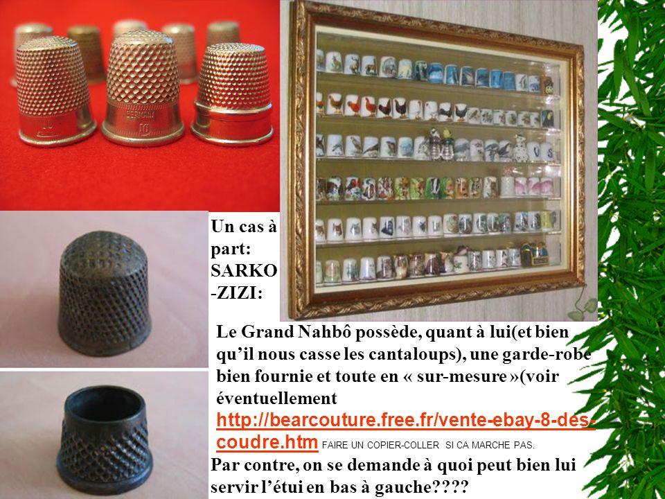 Un cas à part: SARKO -ZIZI: Le Grand Nahbô possède, quant à lui(et bien quil nous casse les cantaloups), une garde-robe bien fournie et toute en « sur-mesure »(voir éventuellement http://bearcouture.free.fr/vente-ebay-8-des- coudre.htm FAIRE UN COPIER-COLLER SI CA MARCHE PAS.