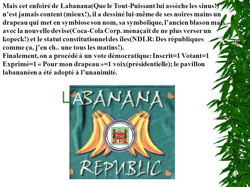 Mais cet enfoiré de Labanana(Que le Tout-Puissant lui assèche les sinus!) nest jamais content (mieux!), il a dessiné lui-même de ses noires mains un drapeau qui met en symbiose son nom, sa symbolique, lancien blason mais avec la nouvelle devise(Coca-Cola Corp.